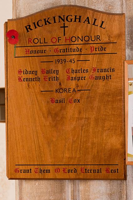 Roll of Honour II, Rickinghall Inferior church