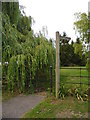 TF1406 : Footpath and gate with overhanging willow tree, Etton by Paul Bryan