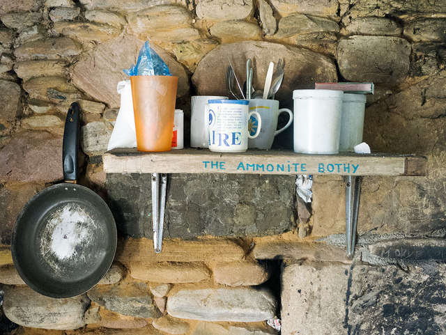 Interior:  Ammonite Bothy at Eathie Fishing Station
