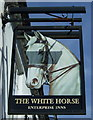 SP9635 : Sign for the White Horse, Husborne Crawley by JThomas