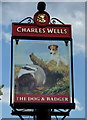 TL0737 : Sign for the Dog and Badger public house by JThomas