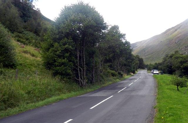 The A822 heading through the Sma' Glen