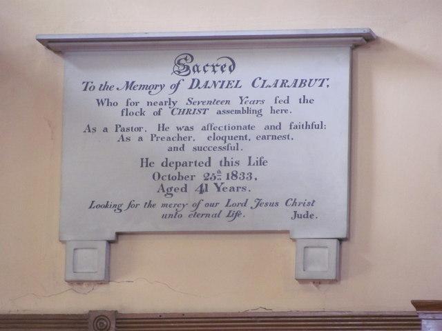Memorial to Daniel Clarabut, New Mill Baptist Church