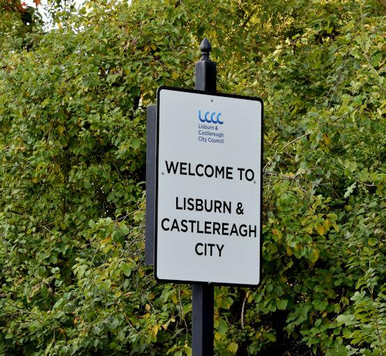 Council boundary sign, Drumbeg, Dunmurry (October 2015)