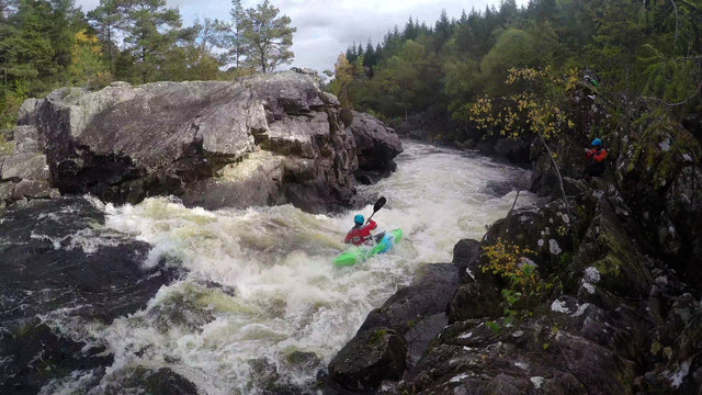 Running the crux rapid on the Upper Tummel