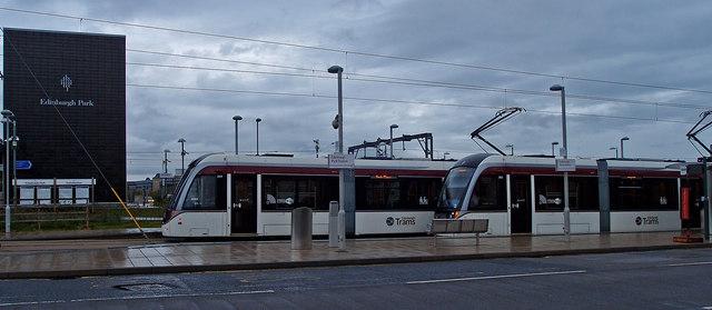 Trams at Edinburgh Park Station