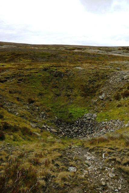 Collapsed mineshaft below Friarfold Rake