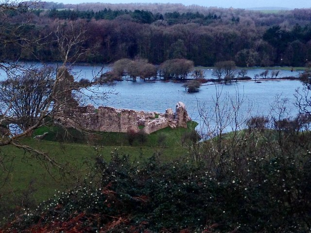 Ogmore Castle with river in flood