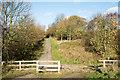 NZ1055 : Barrier across Derwent Walk by Trevor Littlewood