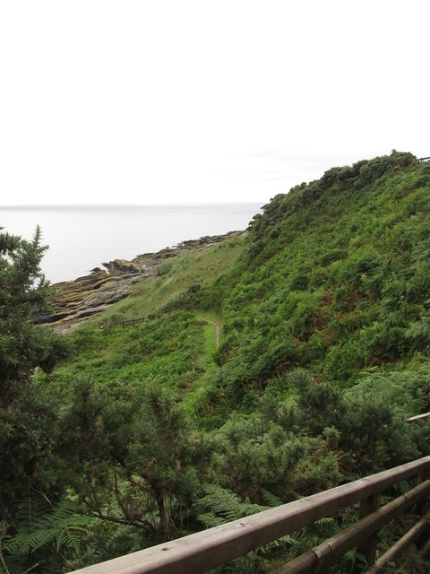 The Mourne Coastal Path viewed from the stepped path leading to the ruined St Mary's Church