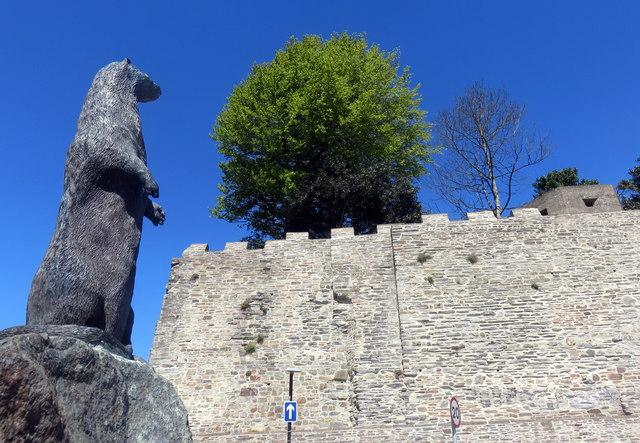 Cardigan castle wall renewed