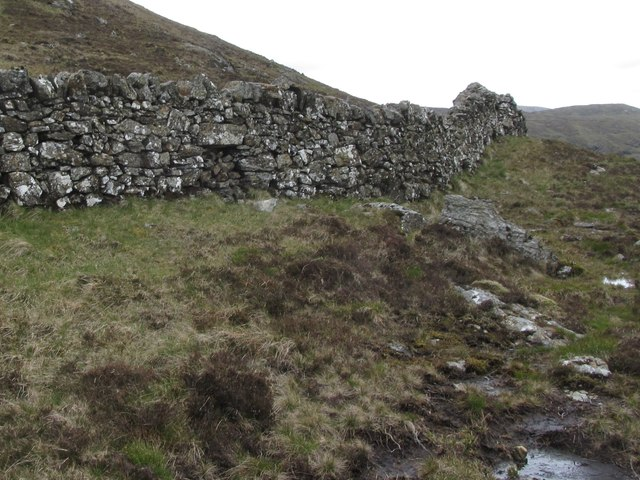 Blocked sheep gutter in the former estate boundary wall