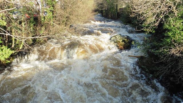 The River Erme in spate, Ivybridge