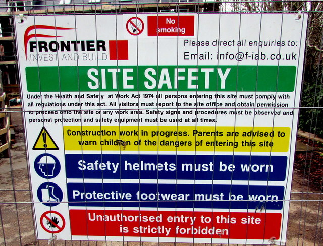 Frontier Invest and Build site safety regulations, Newent