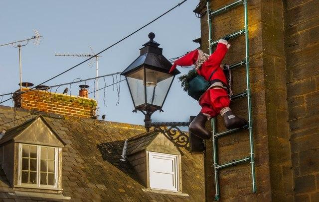South Petherton: Santa climbs Blake Hall