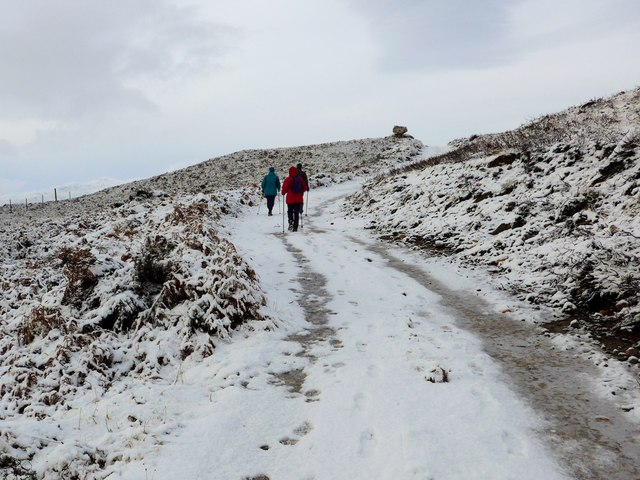 Approaching the hut circles on the Farley track