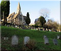 SO8401 : Hillside church and graveyard, Inchbrook by Jaggery