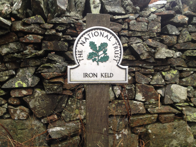 The National Trust sign at the gate onto Iron Keld