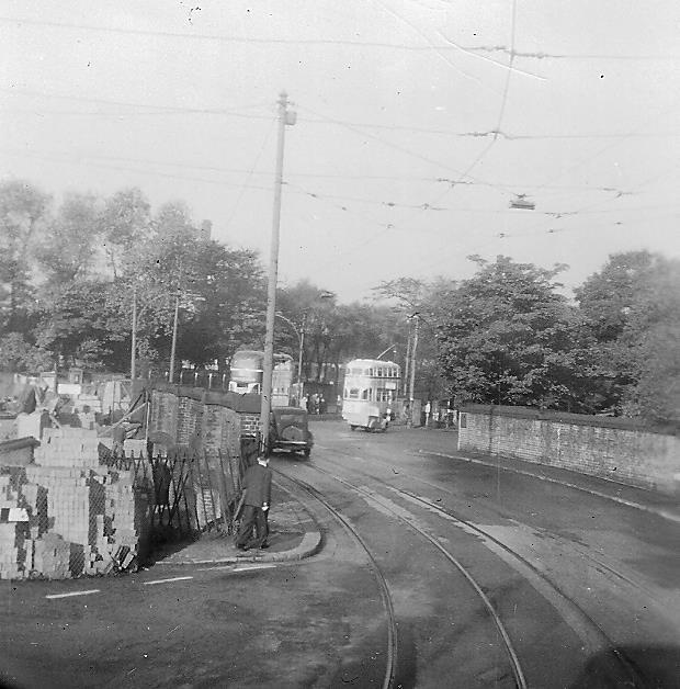 Trams approaching Broadgreen Bridge
