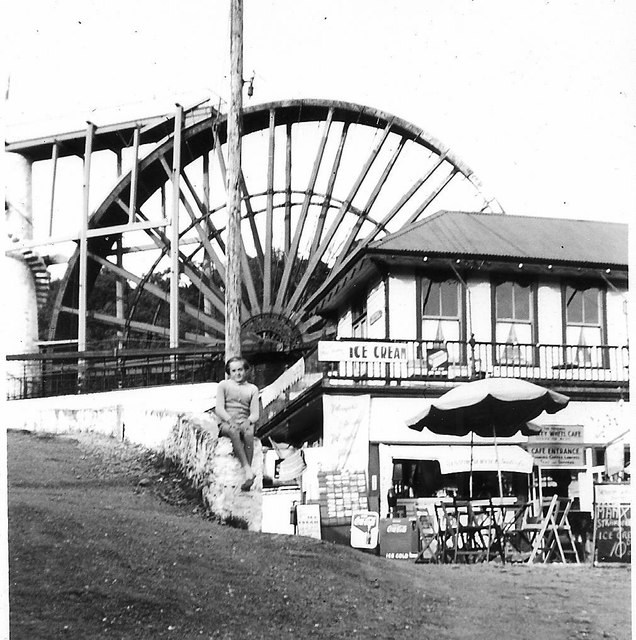 Laxey Wheel and adjacent cafe 1958