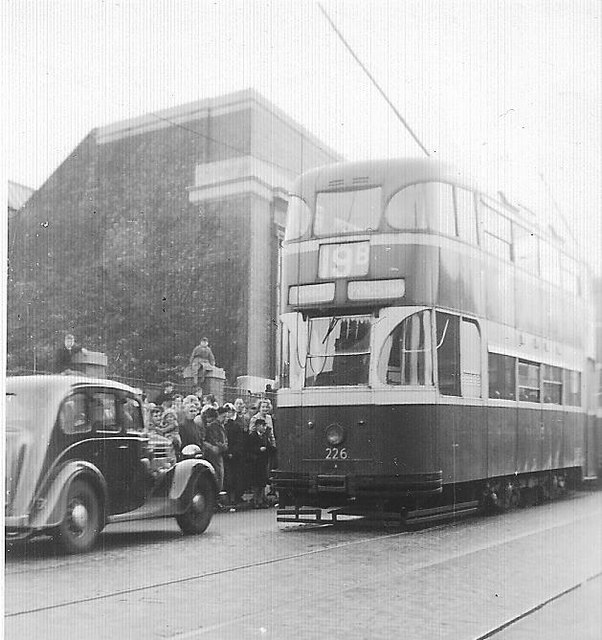 Edge Lane tram depot and tram 1957