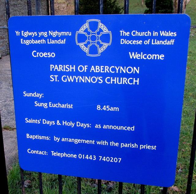 In Abercynon Rhondda Cynon Taf: St Gwynno's Church Nameboard, Abercynon © Jaggery