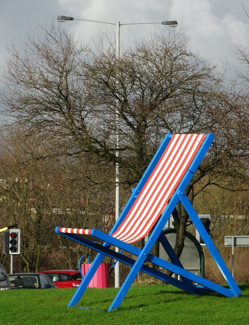 Giant deckchair on a traffic island in Bury