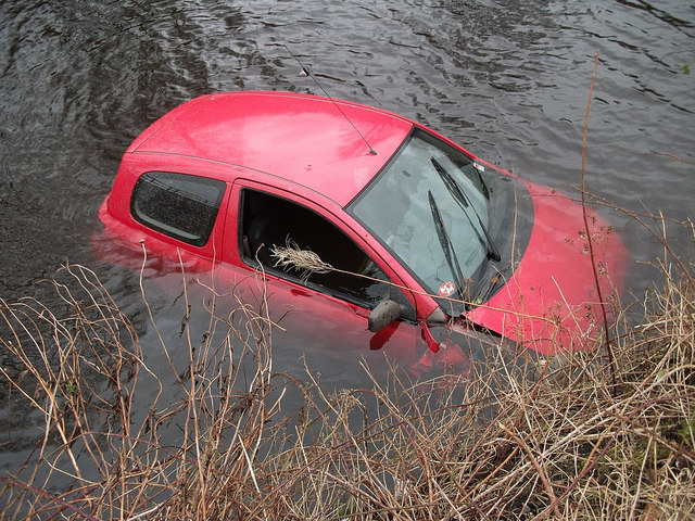 Red car in Rochdale Canal