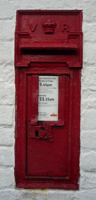 Close up, Victorian postbox on National Cycle Route 1, Folkton
