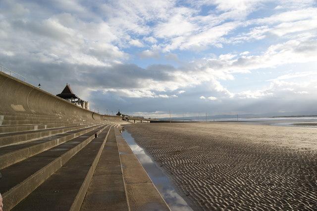 Sea defences on Burnham on Sea beach