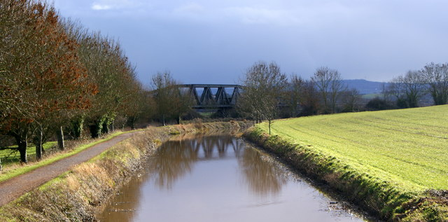 Railway Bridge at Cogload Junction with the Bridgwater to Taunton Canal in the foreground