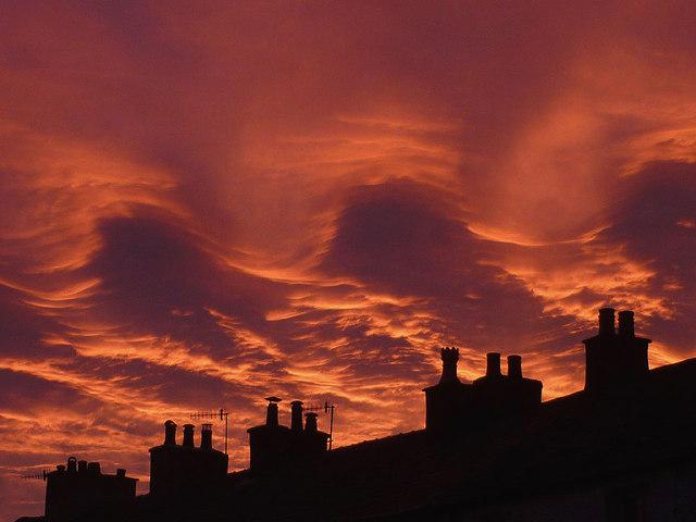 Fiery sky over Warton (2)