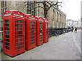 TL4458 : Four red phone boxes in Cambridge by Richard Humphrey