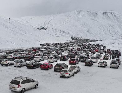NO1477 : Car park at Glenshee Ski Centre by Nigel Corby