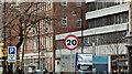 J3474 : 20 mph speed limit sign, High Street, Belfast (February 2016) by Albert Bridge