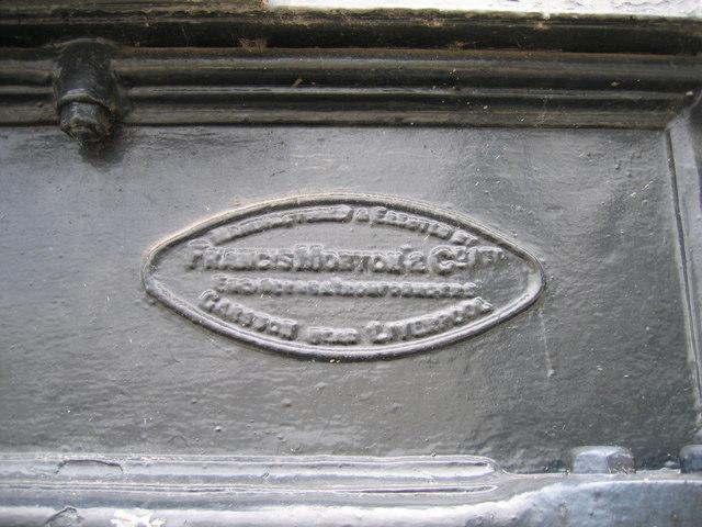 Manufacturers plaque on the historic Hooton railway bridge