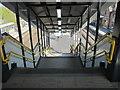 SJ3478 : Steps down to platforms 1 & 2 at Hooton railway station by John S Turner