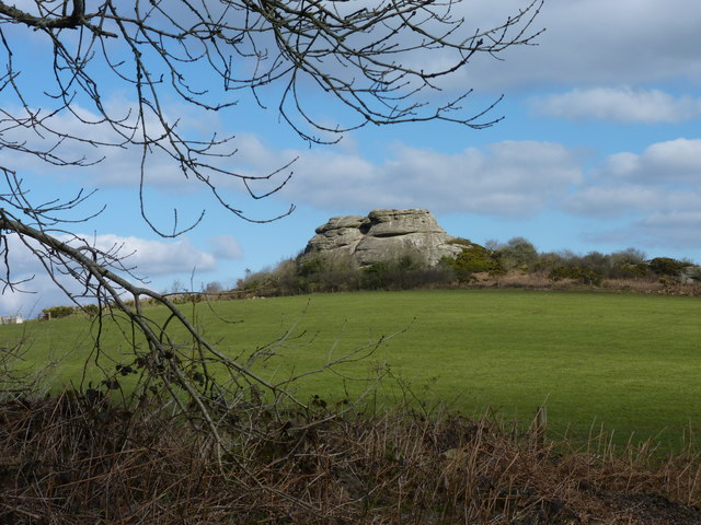 Pasture, with Heltor Rock behind