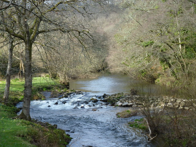 Weir on the River Teign, from Steps Bridge