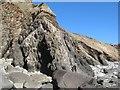 SM7227 : Mudstone outcrops, Porthmelgan by Jonathan Wilkins