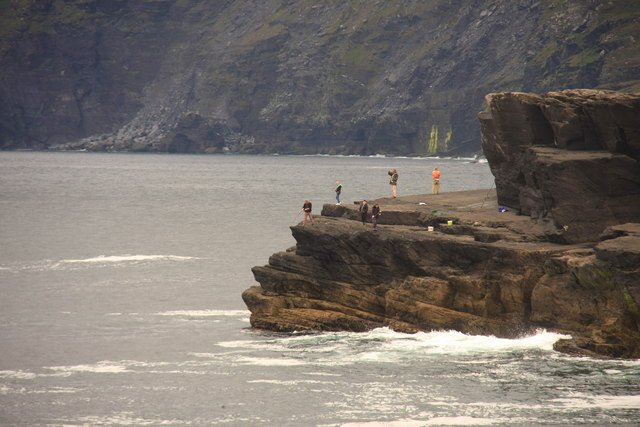 People fishing at Culloo Head, Valentia