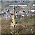 SJ9593 : Hyde Chapel spire from Werneth Low : Week 16