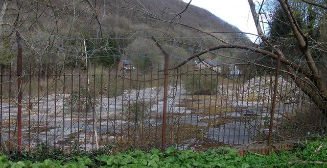Derelict factory site, Knighton, Powys