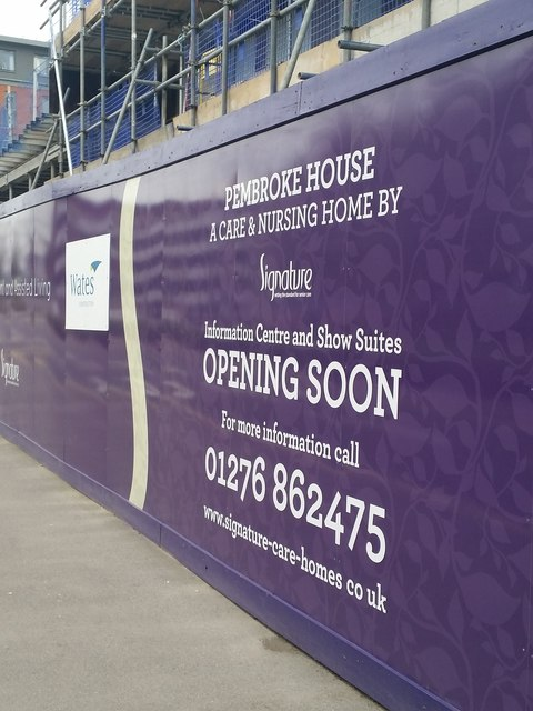Hoarding by Pembroke House construction site, Camberley