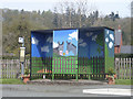 SJ2111 : Decorated bus stop at Oak Lane by John Firth