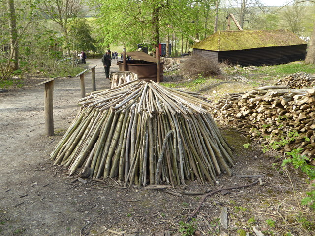 Reconstruction of charcoal burning at the Wealden Downlands Museum