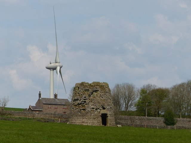 Windmill, turbine and railway cottages