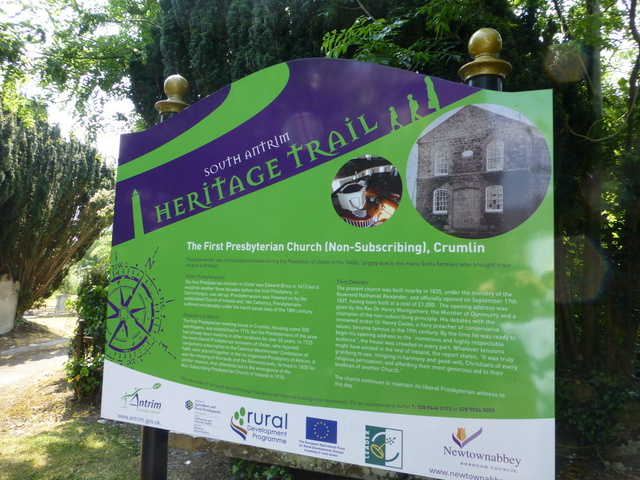 South Antrim Heritage Trail notice board, Crumlin