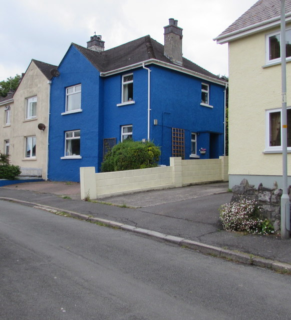Blue house in Manor Crescent, Manorbier