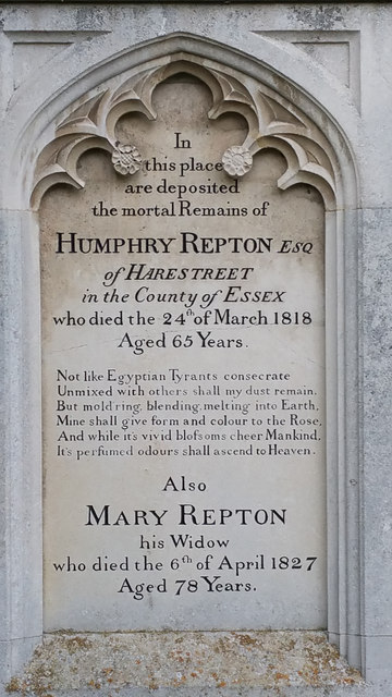 Outdoor detail: Humphrey Repton memorial (with misused apostrophes!)